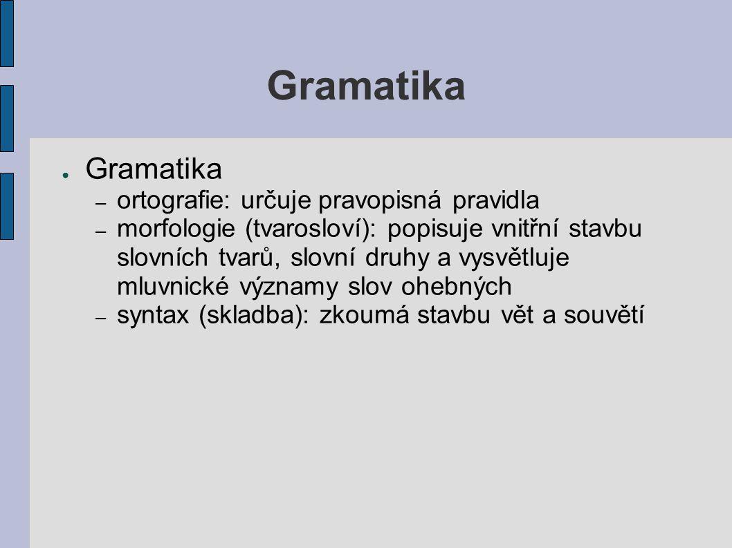 Gramatika ● Gramatika – ortografie: určuje pravopisná pravidla – morfologie (tvarosloví): popisuje vnitřní stavbu slovních tvarů, slovní druhy a vysvě