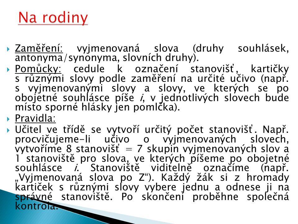  Zaměření: vyjmenovaná slova (druhy souhlásek, antonyma/synonyma, slovních druhy).