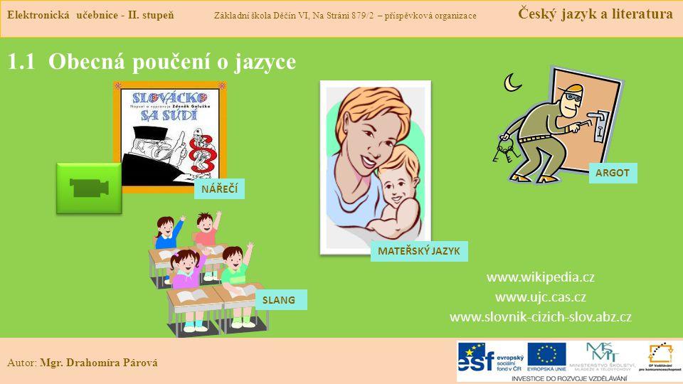 1.1 Obecná poučení o jazyce www.wikipedia.cz www.ujc.cas.cz www.slovnik-cizich-slov.abz.cz Elektronická učebnice - II.