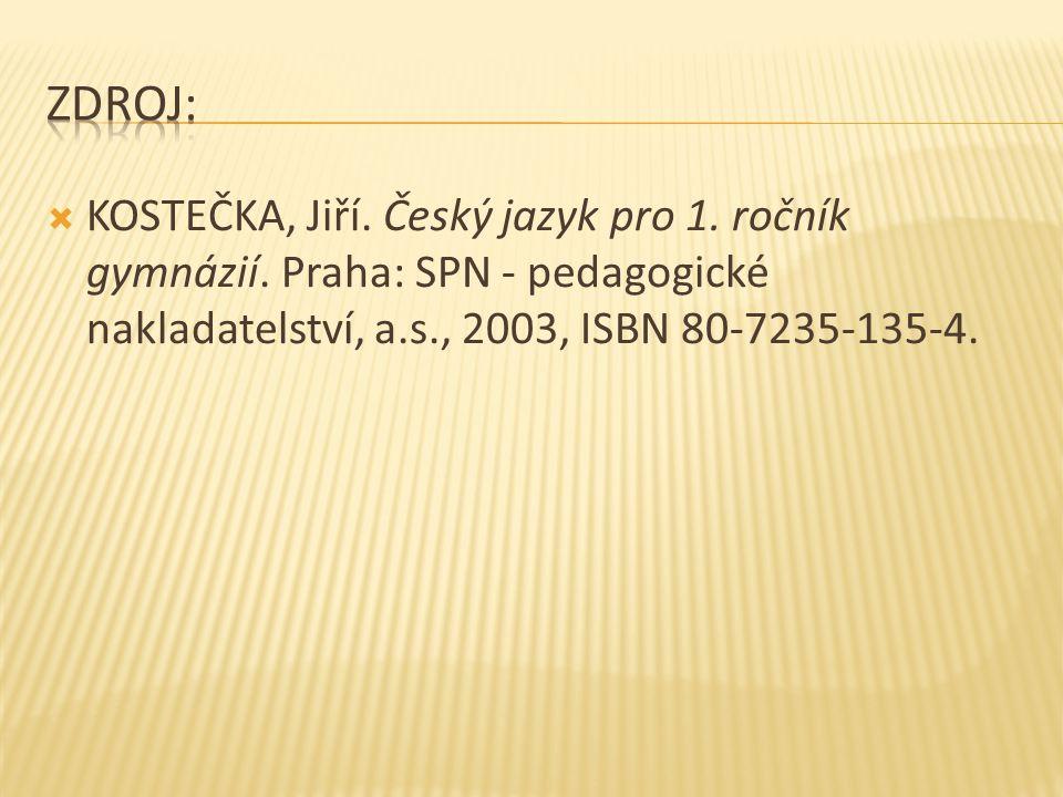  KOSTEČKA, Jiří. Český jazyk pro 1. ročník gymnázií. Praha: SPN - pedagogické nakladatelství, a.s., 2003, ISBN 80-7235-135-4.