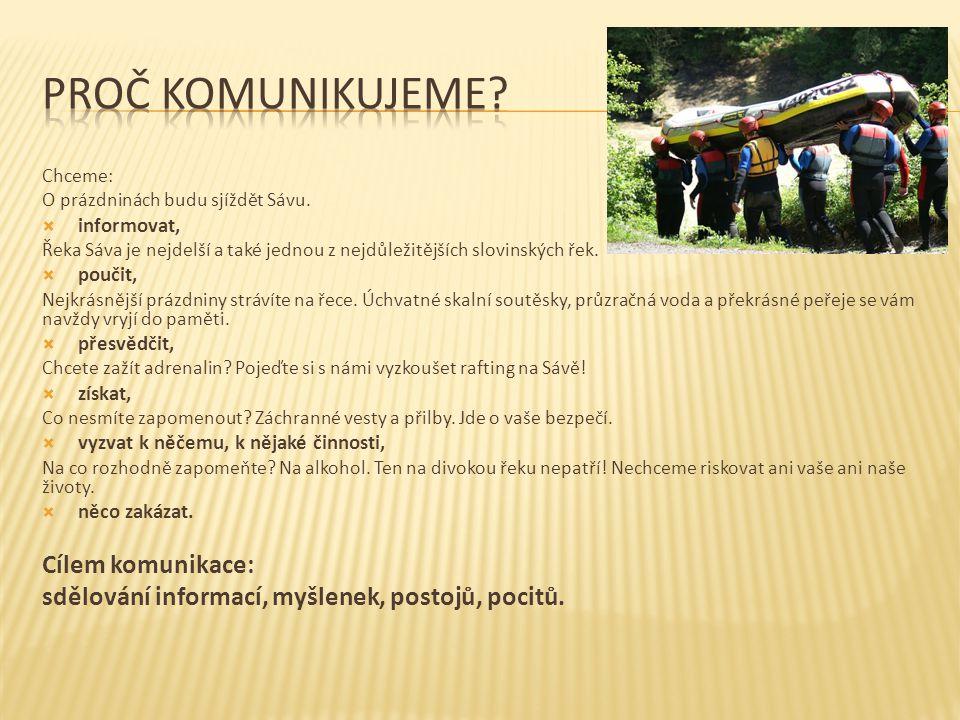 Chceme: O prázdninách budu sjíždět Sávu.  informovat, Řeka Sáva je nejdelší a také jednou z nejdůležitějších slovinských řek.  poučit, Nejkrásnější