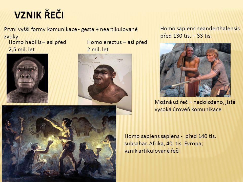 Homo habilis – asi před 2,5 mil. let První vyšší formy komunikace - gesta + neartikulované zvuky Homo erectus – asi před 2 mil. let Možná už řeč – ned
