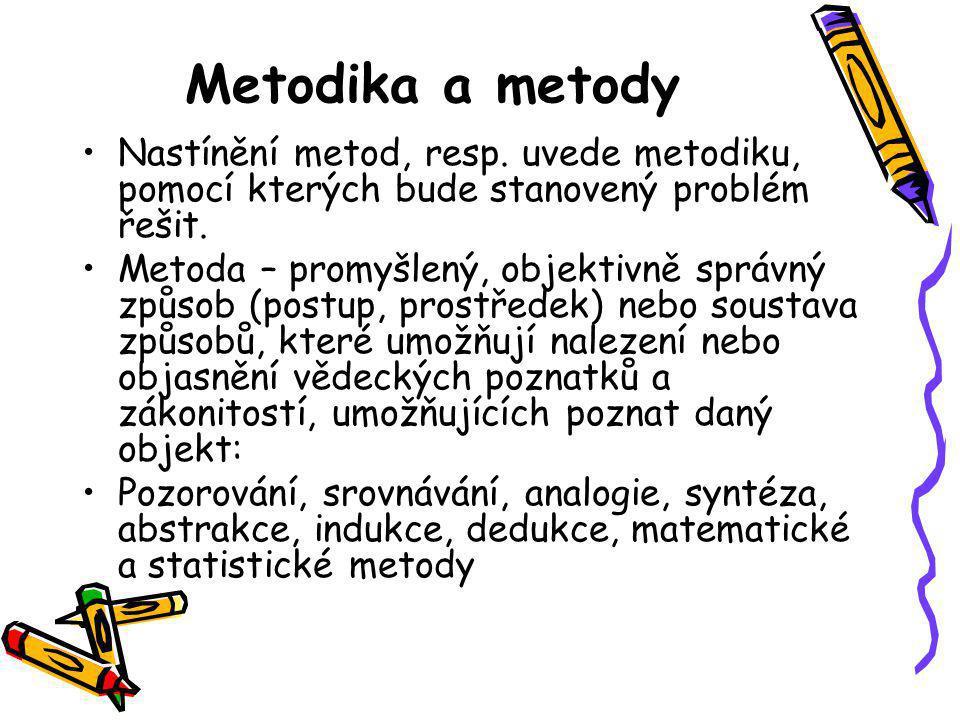 Metodika a metody Nastínění metod, resp. uvede metodiku, pomocí kterých bude stanovený problém řešit. Metoda – promyšlený, objektivně správný způsob (
