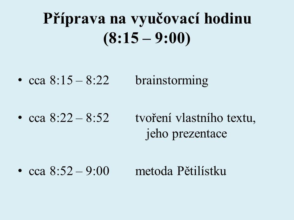 Příprava na vyučovací hodinu (8:15 – 9:00) cca 8:15 – 8:22brainstorming cca 8:22 – 8:52tvoření vlastního textu, jeho prezentace cca 8:52 – 9:00metoda