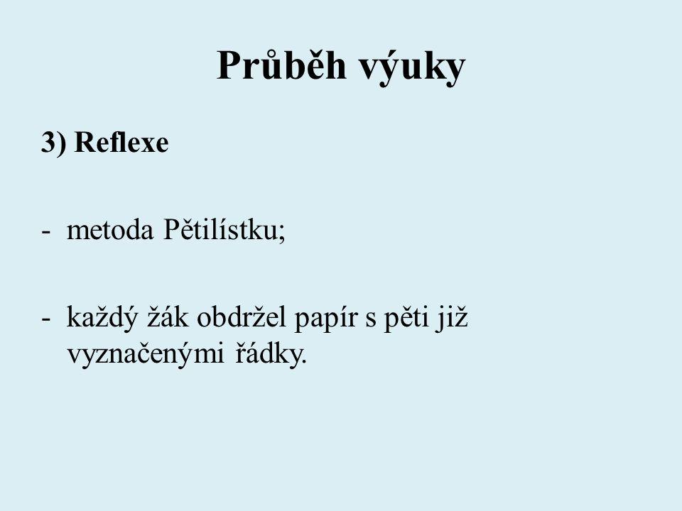 Průběh výuky 3) Reflexe -metoda Pětilístku; -každý žák obdržel papír s pěti již vyznačenými řádky.