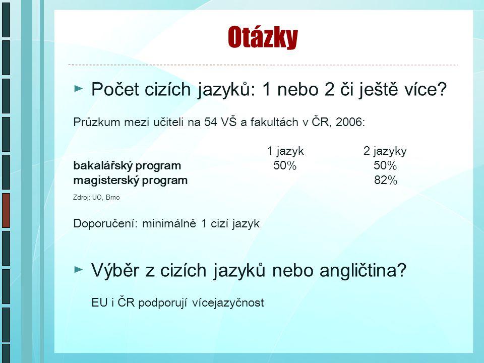 Otázky ►Počet cizích jazyků: 1 nebo 2 či ještě více.