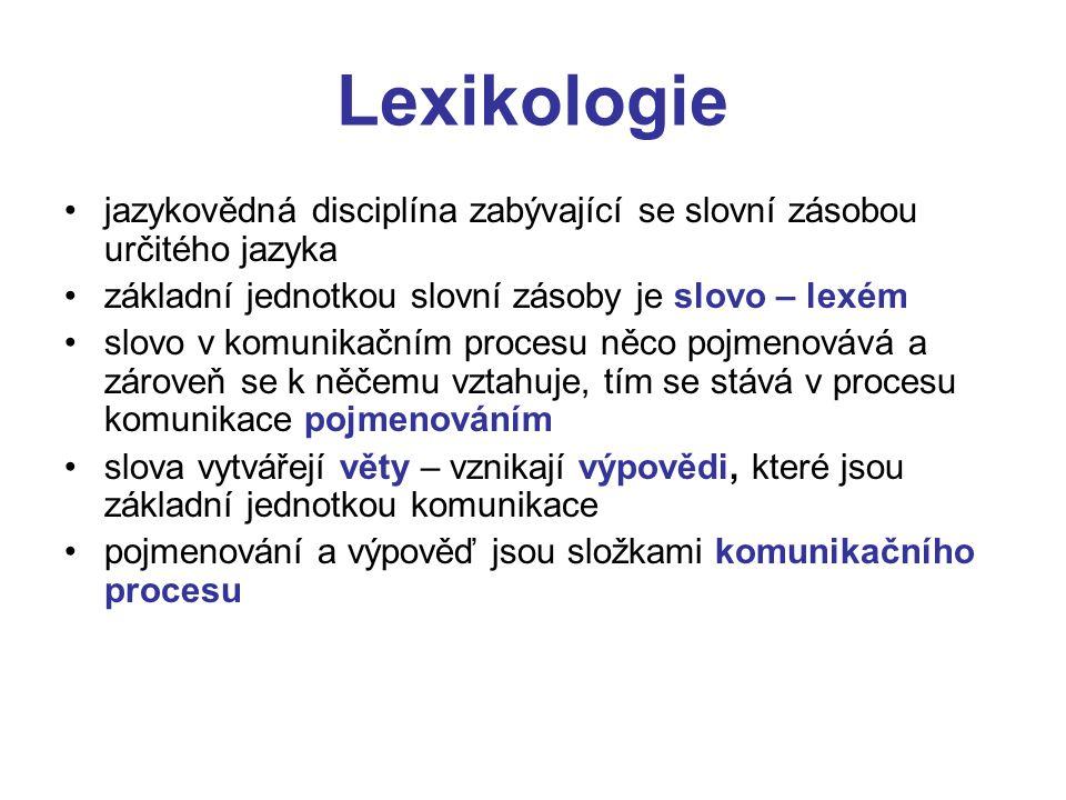 Další jazykové disciplíny Morfologie se zabývá tvořením slov Etymologie se zabývá původem slov Lexikografie se zabývá tvorbou slovníků Sémantika se zabývá významem slov Onomastika se zabývá vlastními jmény Onomaziologie se zabývá procesem pojmenování Sémaziologie se zabývá naukou o význam