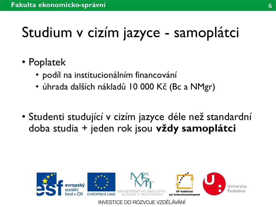 6 Studium v cizím jazyce - samoplátci Poplatek podíl na institucionálním financování úhrada dalších nákladů 10 000 Kč (Bc a NMgr) Studenti studující v cizím jazyce déle než standardní doba studia + jeden rok jsou vždy samoplátci