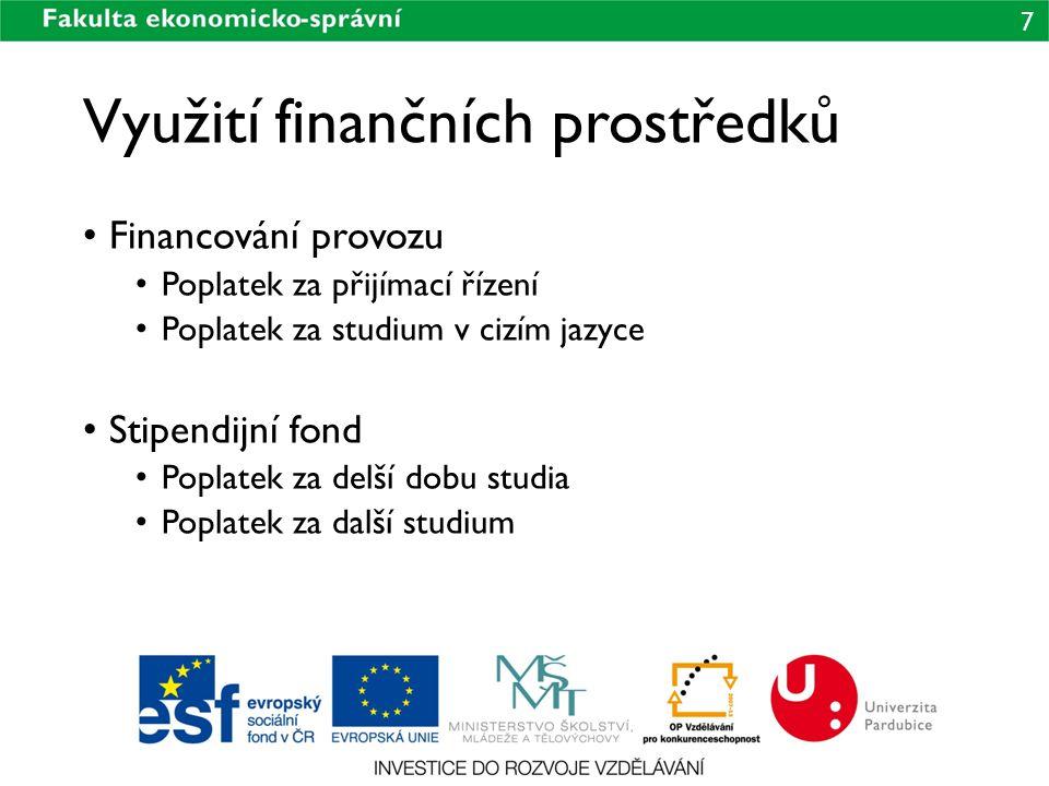7 Využití finančních prostředků Financování provozu Poplatek za přijímací řízení Poplatek za studium v cizím jazyce Stipendijní fond Poplatek za delší dobu studia Poplatek za další studium