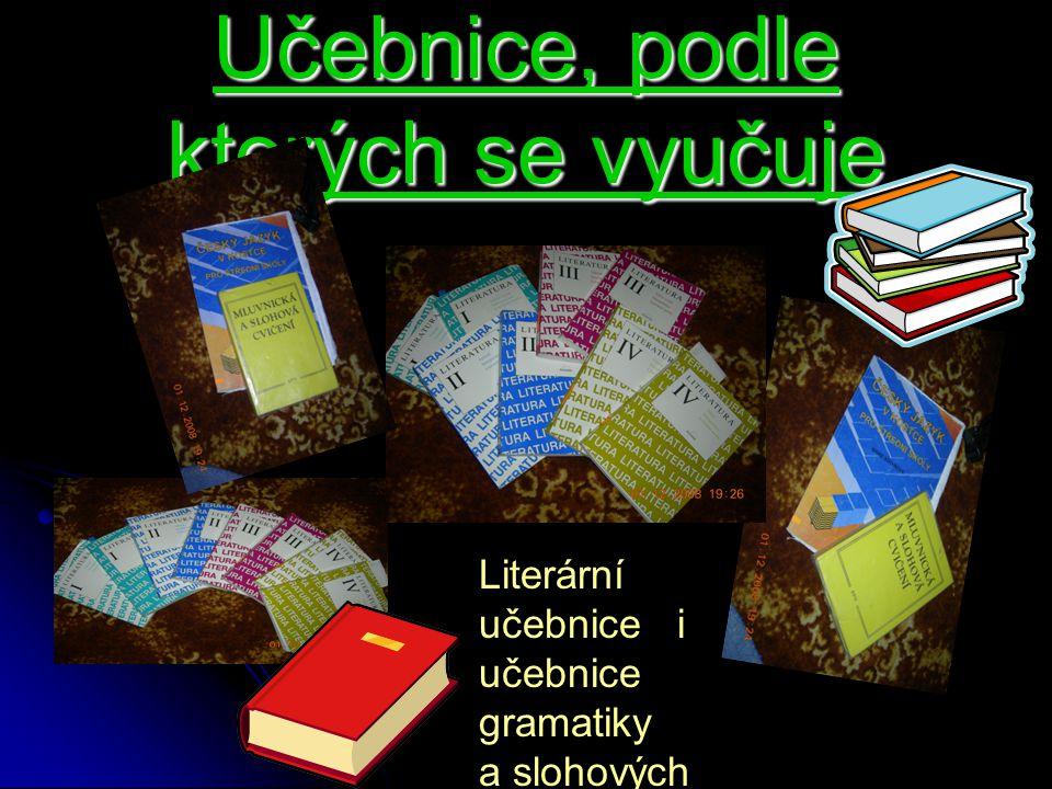 Učebnice, podle kterých se vyučuje Literární učebnice i učebnice gramatiky a slohových cvičení