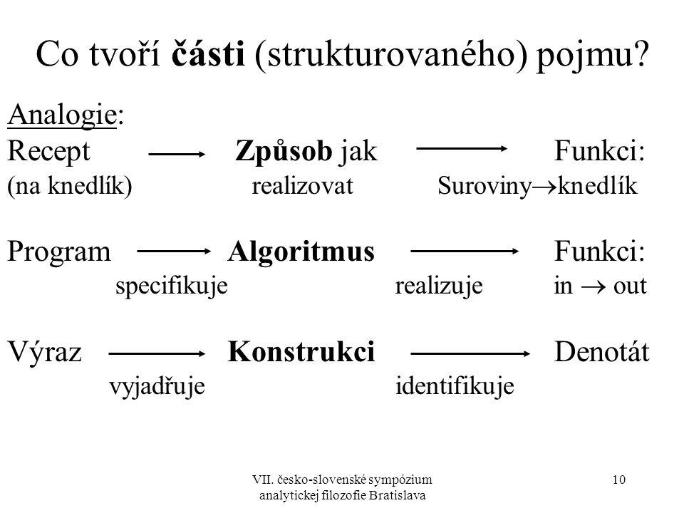 VII. česko-slovenské sympózium analytickej filozofie Bratislava 10 Co tvoří části (strukturovaného) pojmu? Analogie: Recept Způsob jakFunkci: (na kned