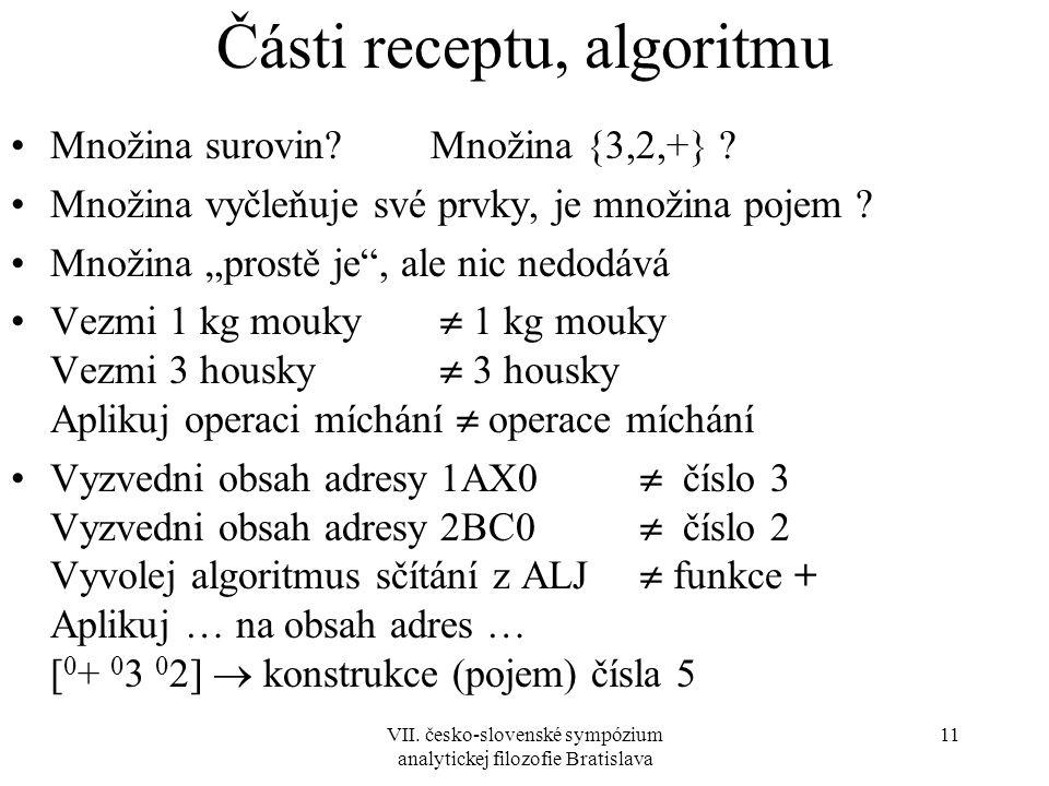 VII. česko-slovenské sympózium analytickej filozofie Bratislava 11 Části receptu, algoritmu Množina surovin?Množina {3,2,+} ? Množina vyčleňuje své pr