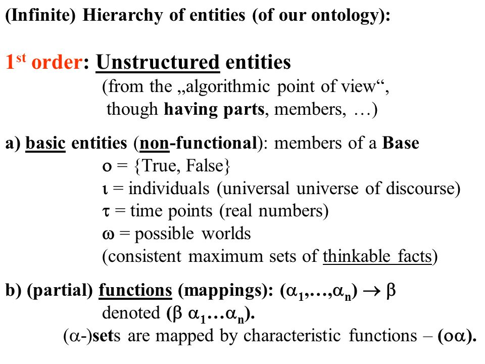 "(Infinite) Hierarchy of entities (of our ontology): 1 st order: Unstructured entities (from the ""algorithmic point of view , though having parts, members, …) a) basic entities (non-functional): members of a Base  = {True, False}  = individuals (universal universe of discourse)  = time points (real numbers)  = possible worlds (consistent maximum sets of thinkable facts) b) (partial) functions (mappings): (  1,…,  n )   denoted (   1 …  n )."