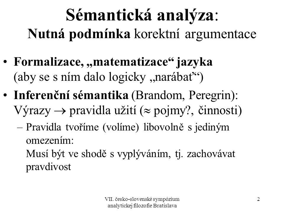 """VII. česko-slovenské sympózium analytickej filozofie Bratislava 2 Sémantická analýza: Nutná podmínka korektní argumentace Formalizace, """"matematizace"""""""