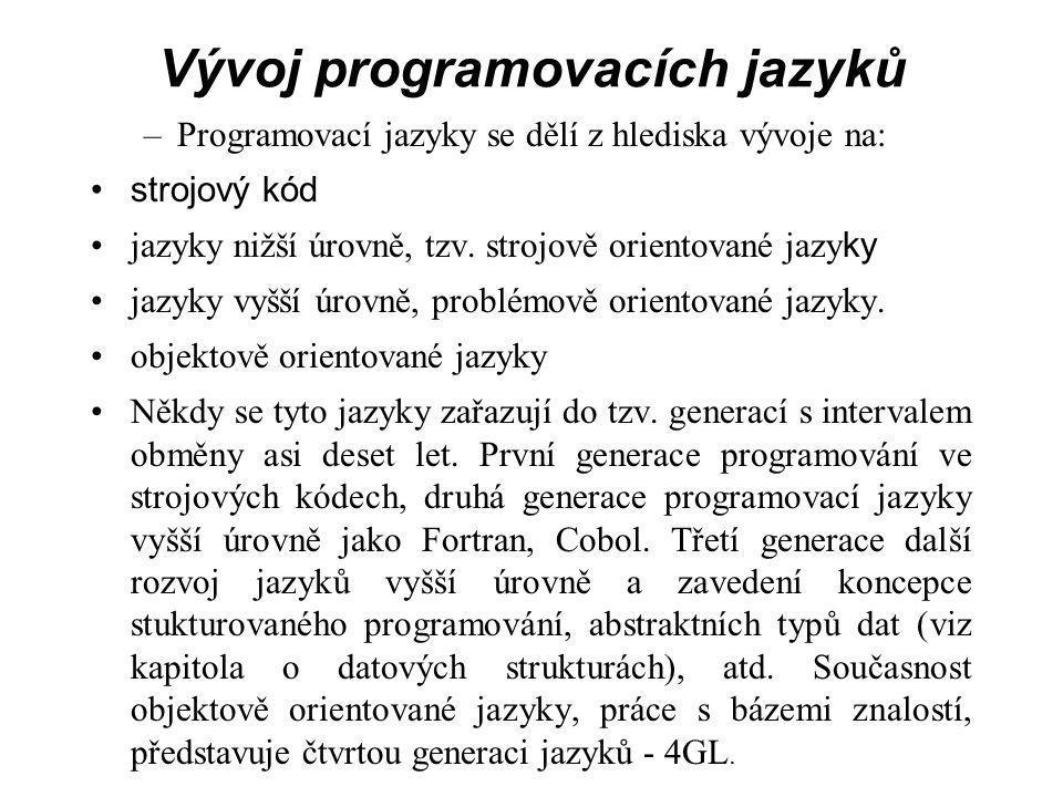 Vývoj programovacích jazyků –Programovací jazyky se dělí z hlediska vývoje na: strojový kód jazyky nižší úrovně, tzv.