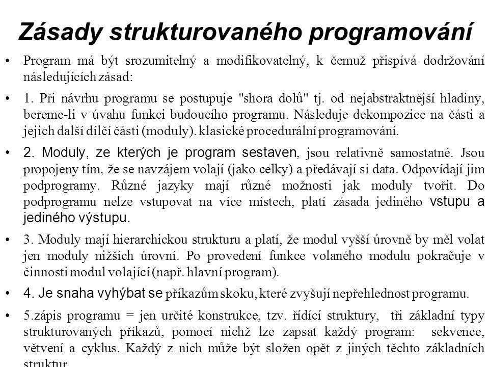Zásady strukturovaného programování Program má být srozumitelný a modifikovatelný, k čemuž přispívá dodržování následujících zásad: 1.