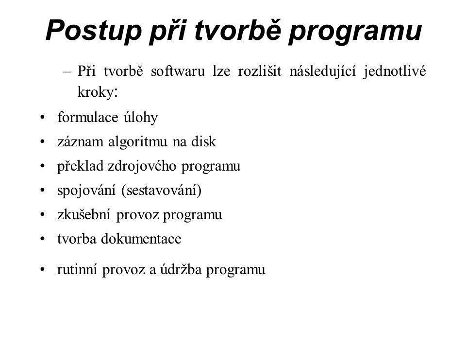 Postup při tvorbě programu –Při tvorbě softwaru lze rozlišit následující jednotlivé kroky : formulace úlohy záznam algoritmu na disk překlad zdrojového programu spojování (sestavování) zkušební provoz programu tvorba dokumentace rutinní provoz a údržba programu