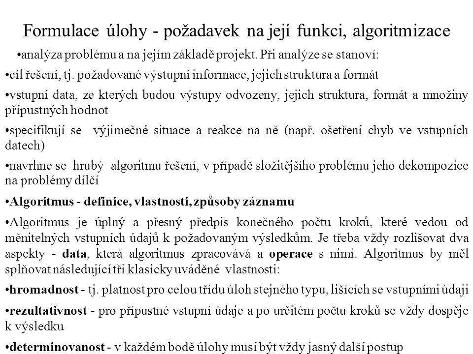 Formulace úlohy - požadavek na její funkci, algoritmizace analýza problému a na jejím základě projekt.