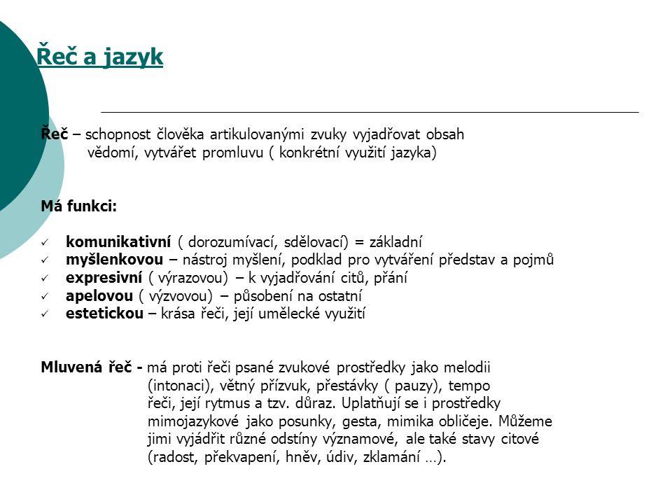 Jazyk – systém ( soustava) konvenčních ( ustálených) znaků a pravidel jejich užívání Jazyk národní – společný pro celý národní kolektiv ( národní jazyk Čechů je čeština) Jazyk mateřský – poznáváme ho zvláště z úst své matky = jazyk nejbližšího okolí