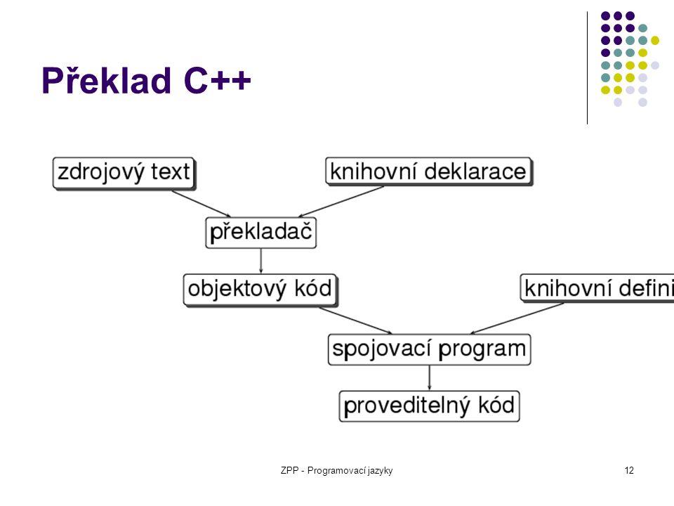 ZPP - Programovací jazyky12 Překlad C++