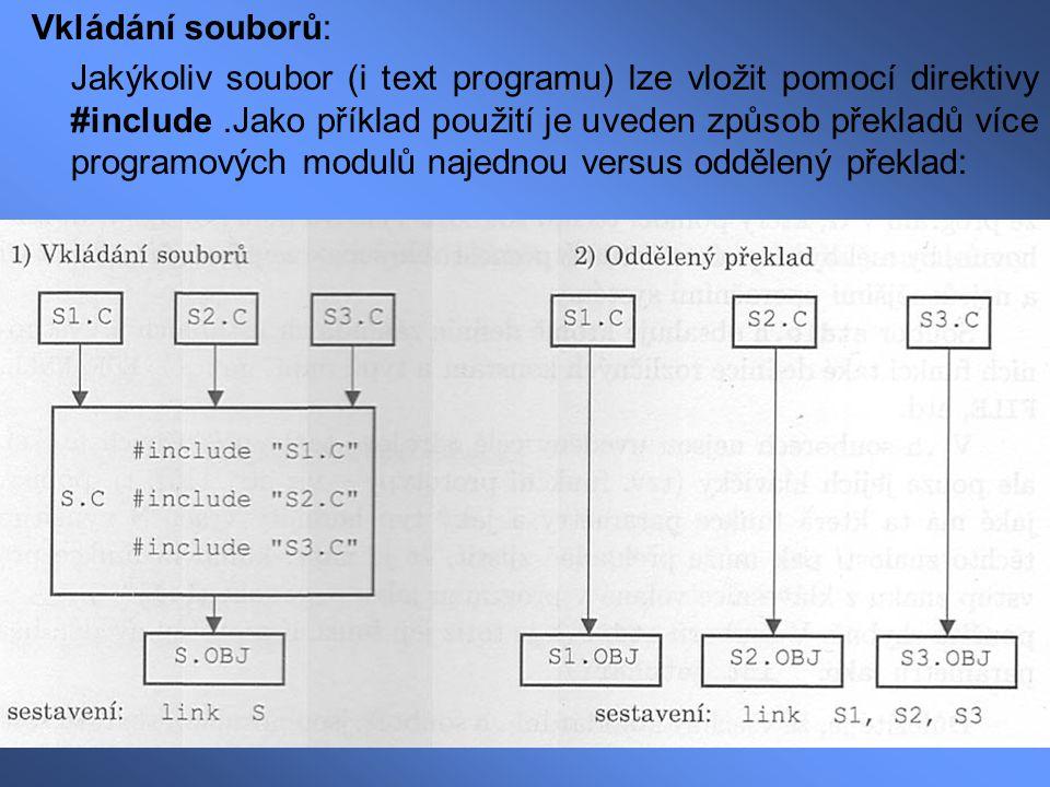 Vkládání souborů: Jakýkoliv soubor (i text programu) lze vložit pomocí direktivy #include.Jako příklad použití je uveden způsob překladů více programo