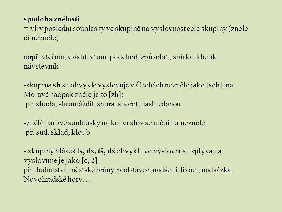přízvuk slovní hlavní – v češtině vždy na první slabice vedlejší – u delších slov (slabší) větný – obvykle na konci věty, popř.