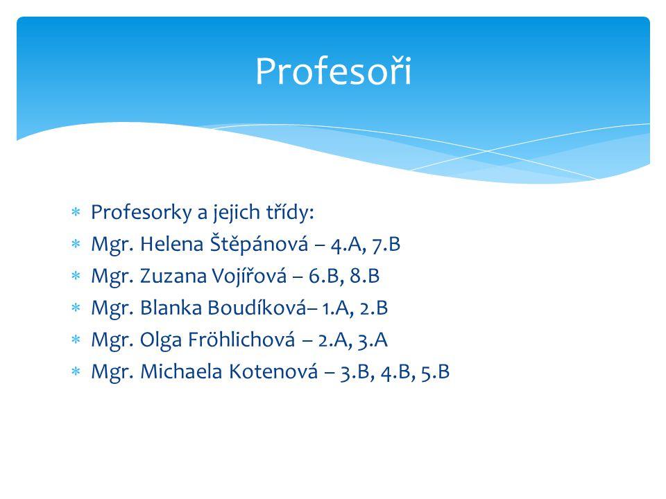  Profesorky a jejich třídy:  Mgr. Helena Štěpánová – 4.A, 7.B  Mgr. Zuzana Vojířová – 6.B, 8.B  Mgr. Blanka Boudíková– 1.A, 2.B  Mgr. Olga Fröhli