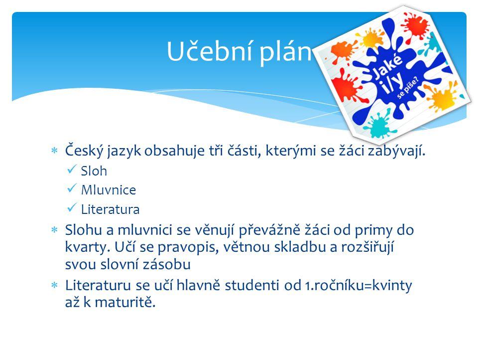  Český jazyk obsahuje tři části, kterými se žáci zabývají. Sloh Mluvnice Literatura  Slohu a mluvnici se věnují převážně žáci od primy do kvarty. Uč