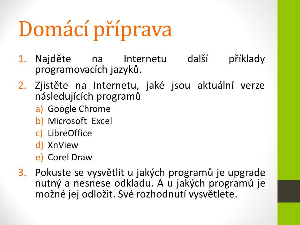 Domácí příprava 1.Najděte na Internetu další příklady programovacích jazyků. 2.Zjistěte na Internetu, jaké jsou aktuální verze následujících programů
