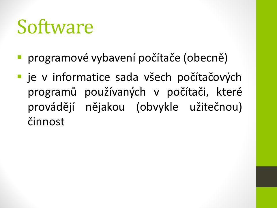 Software  programové vybavení počítače (obecně)  je v informatice sada všech počítačových programů používaných v počítači, které provádějí nějakou (