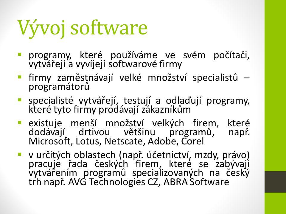 Vývoj software  programy, které používáme ve svém počítači, vytvářejí a vyvíjejí softwarové firmy  firmy zaměstnávají velké množství specialistů – p