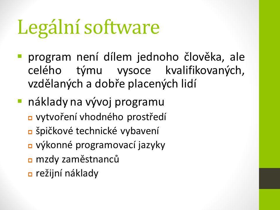 Legální software  program není dílem jednoho člověka, ale celého týmu vysoce kvalifikovaných, vzdělaných a dobře placených lidí  náklady na vývoj pr