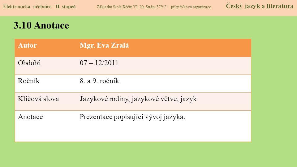 AutorMgr. Eva Zralá Období07 – 12/2011 Ročník8. a 9. ročník Klíčová slovaJazykové rodiny, jazykové větve, jazyk AnotacePrezentace popisující vývoj jaz