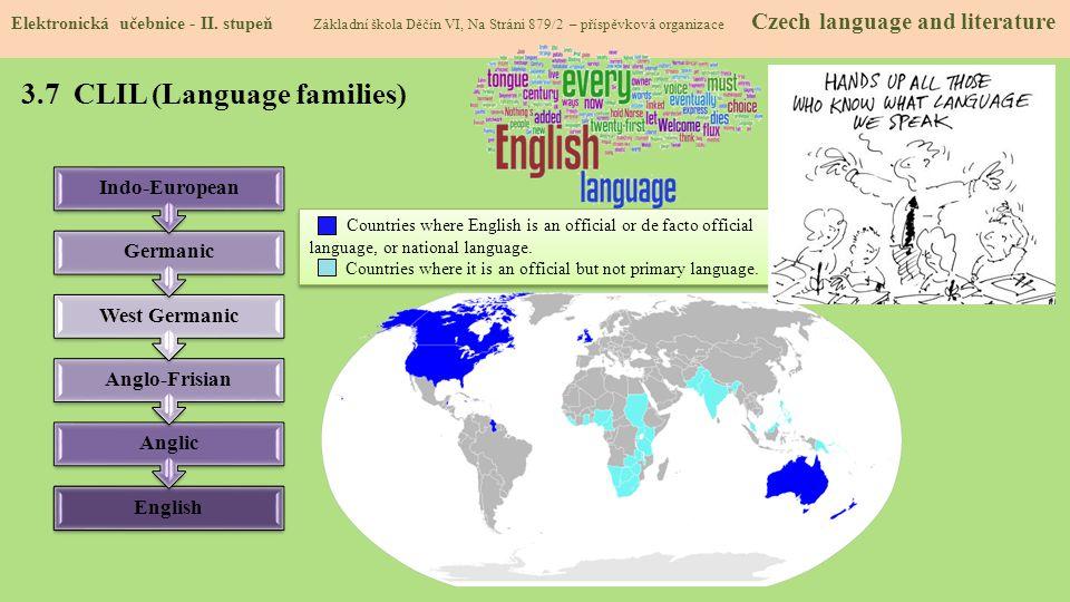 3.7 CLIL (Language families) Elektronická učebnice - II. stupeň Základní škola Děčín VI, Na Stráni 879/2 – příspěvková organizace Czech language and l