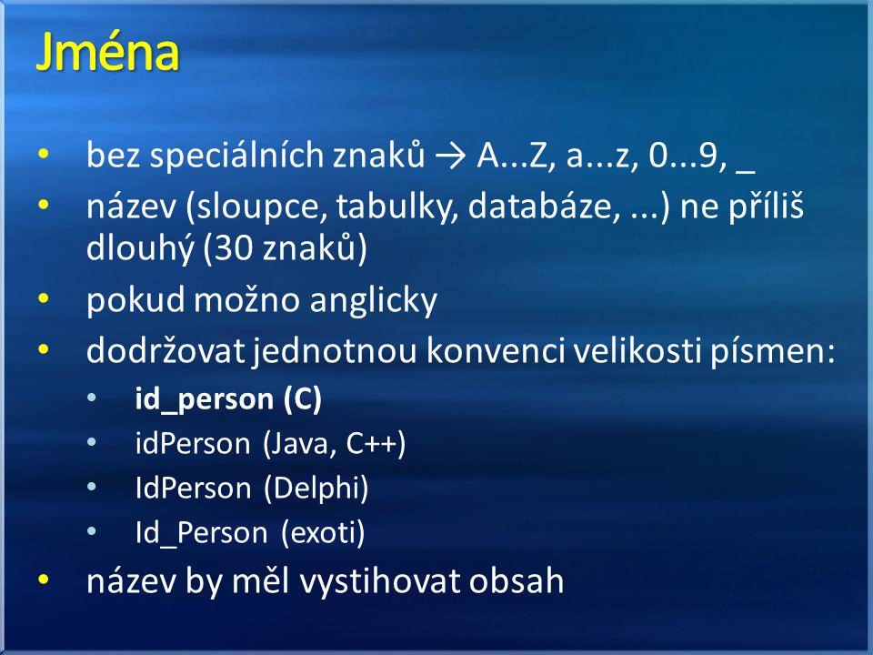 bez speciálních znaků → A...Z, a...z, 0...9, _ název (sloupce, tabulky, databáze,...) ne příliš dlouhý (30 znaků) pokud možno anglicky dodržovat jednotnou konvenci velikosti písmen: id_person (C) idPerson (Java, C++) IdPerson (Delphi) Id_Person (exoti) název by měl vystihovat obsah