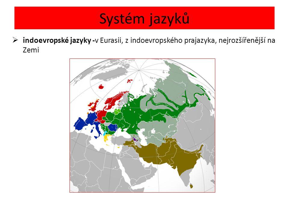 Systém jazyků  indoevropské jazyky -v Eurasii, z indoevropského prajazyka, nejrozšířenější na Zemi
