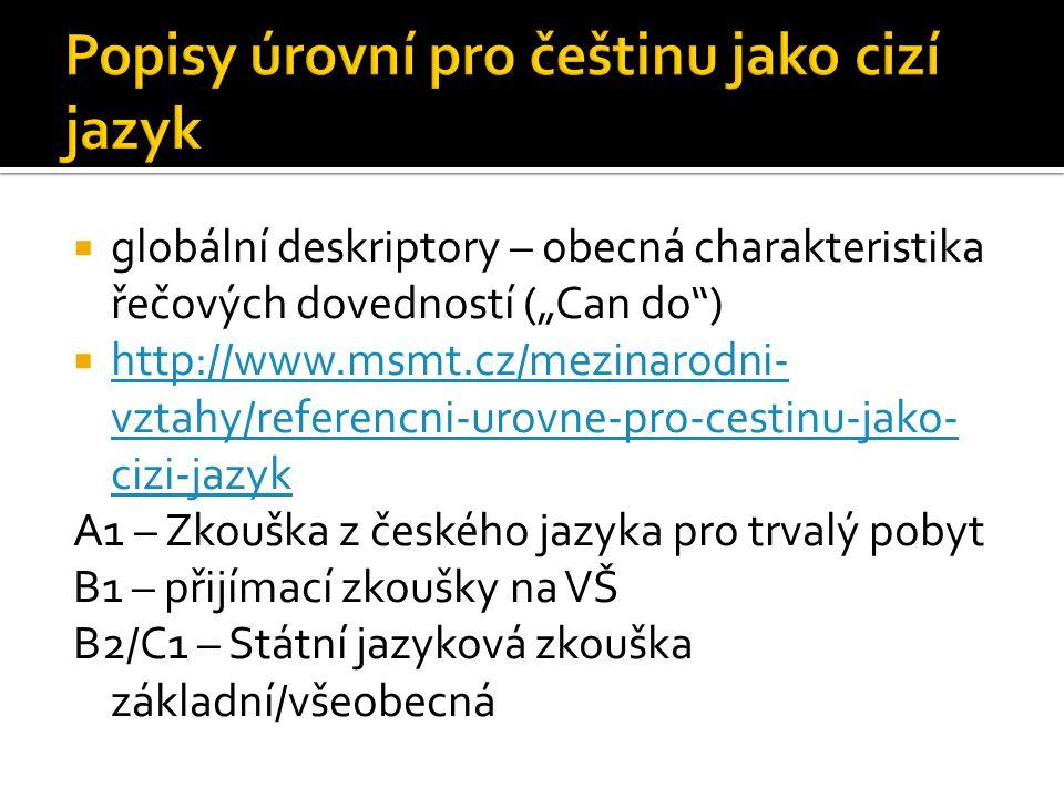 """ globální deskriptory – obecná charakteristika řečových dovedností (""""Can do"""")  http://www.msmt.cz/mezinarodni- vztahy/referencni-urovne-pro-cestinu-"""