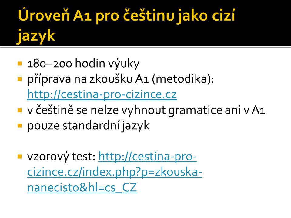  180–200 hodin výuky  příprava na zkoušku A1 (metodika): http://cestina-pro-cizince.cz http://cestina-pro-cizince.cz  v češtině se nelze vyhnout gr