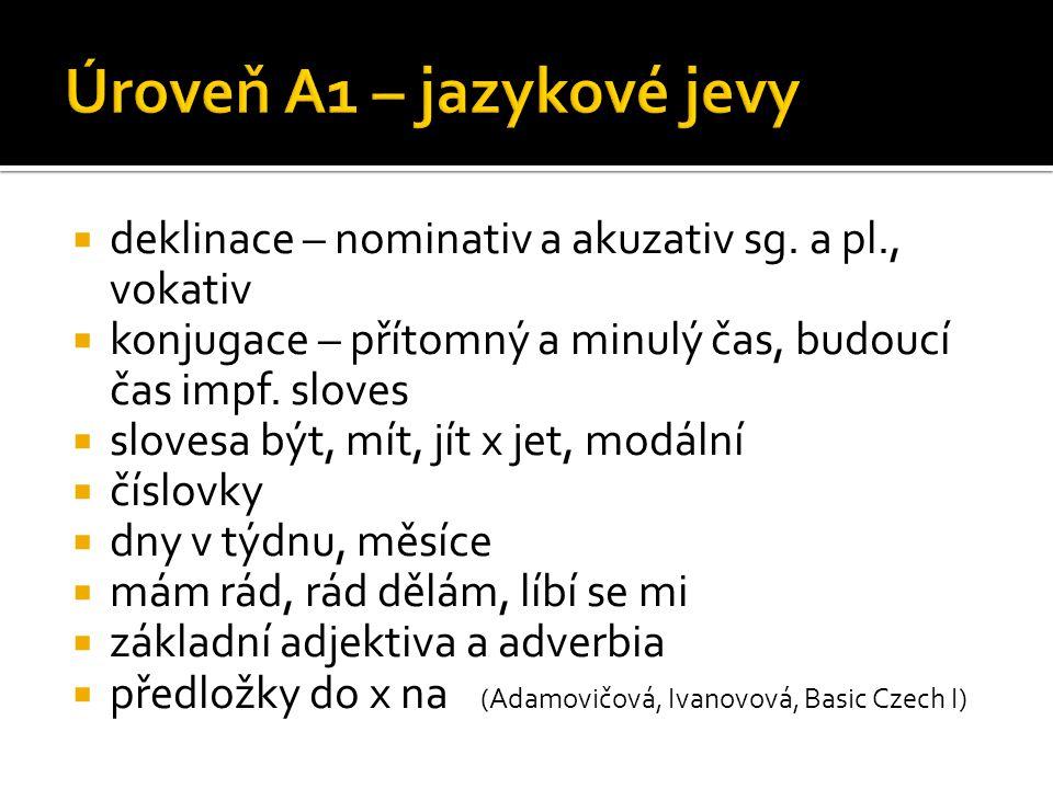  deklinace – nominativ a akuzativ sg. a pl., vokativ  konjugace – přítomný a minulý čas, budoucí čas impf. sloves  slovesa být, mít, jít x jet, mod