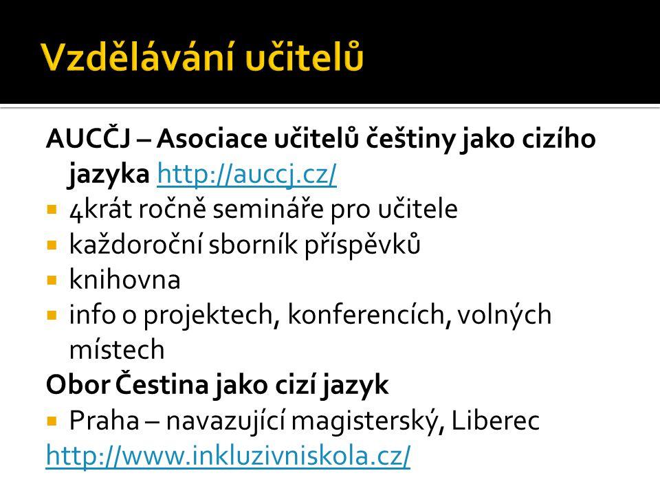 AUCČJ – Asociace učitelů češtiny jako cizího jazyka http://auccj.cz/http://auccj.cz/  4krát ročně semináře pro učitele  každoroční sborník příspěvků