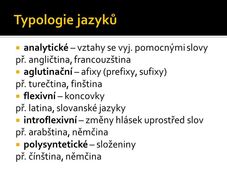  analytické – vztahy se vyj. pomocnými slovy př. angličtina, francouzština  aglutinační – afixy (prefixy, sufixy) př. turečtina, finština  flexivní