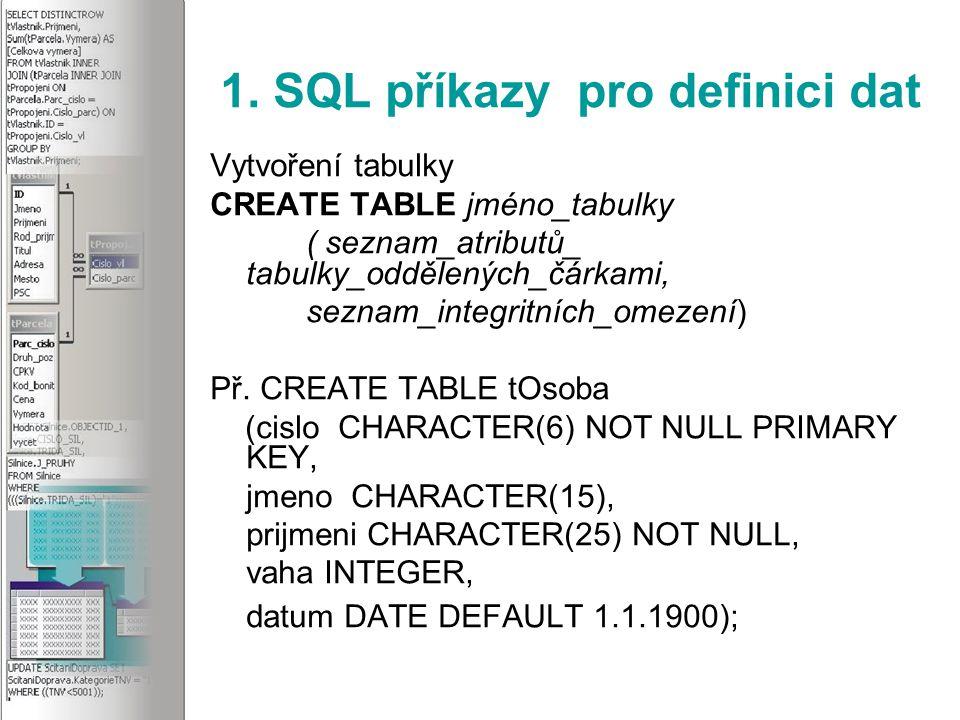 3.SQL příkazy pro editaci dat Setřídění záznamů Př.