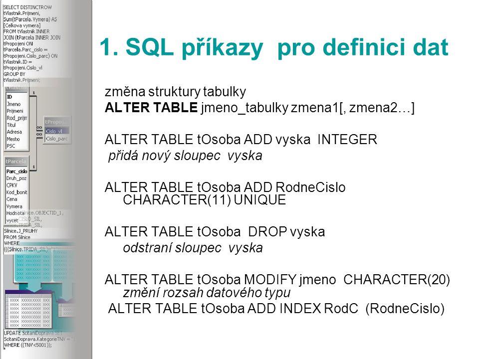 5.SQL příkazy pro transakce Transakce nám zajišťují kontinuitu a nedělitelnost změn.