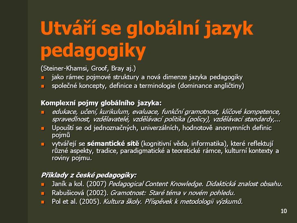 10 Utváří se globální jazyk pedagogiky (Steiner-Khamsi, Groof, Bray aj.) jako rámec pojmové struktury a nová dimenze jazyka pedagogiky jako rámec pojm