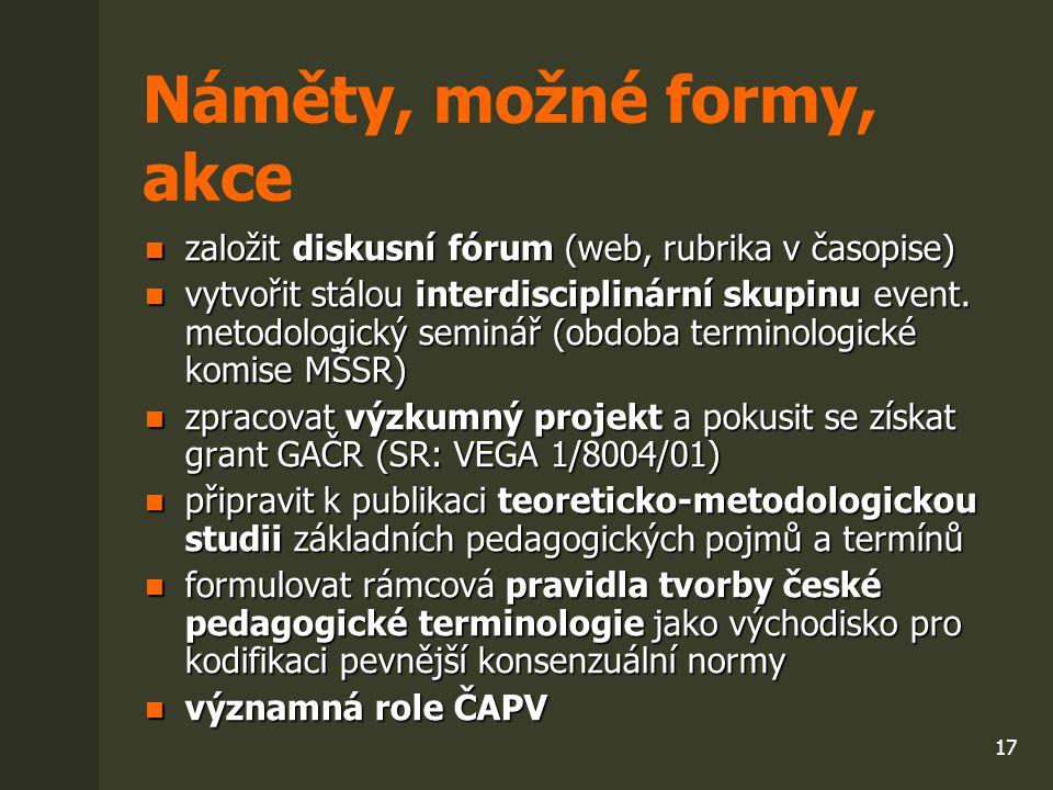 17 Náměty, možné formy, akce založit diskusní fórum (web, rubrika v časopise) založit diskusní fórum (web, rubrika v časopise) vytvořit stálou interdi