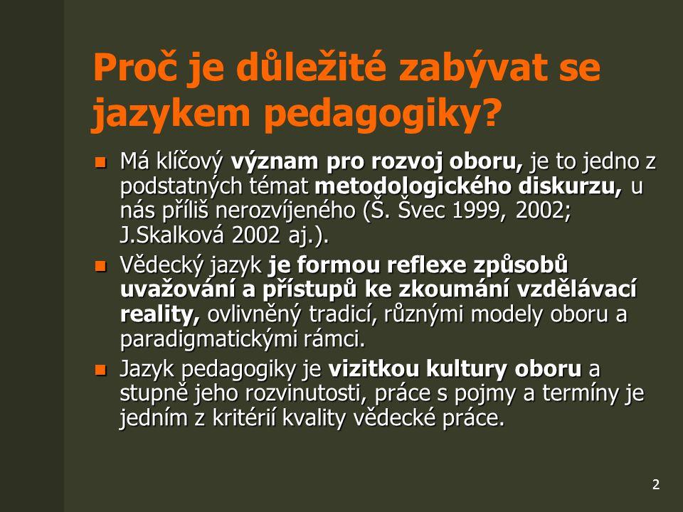 3 Funkce jazyka pedagogiky - prostředek prezentace poznatků, výsledků vědecké činnosti (publikace, výzkumné zprávy, referáty) prezentace poznatků, výsledků vědecké činnosti (publikace, výzkumné zprávy, referáty) systematického zařazování, zpracování a uchování vědeckých informací (dokumentace, databáze, klíčová slova) systematického zařazování, zpracování a uchování vědeckých informací (dokumentace, databáze, klíčová slova) kultivace přípravy doktorandů oboru a budoucích učitelů kultivace přípravy doktorandů oboru a budoucích učitelů