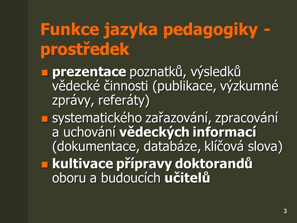 3 Funkce jazyka pedagogiky - prostředek prezentace poznatků, výsledků vědecké činnosti (publikace, výzkumné zprávy, referáty) prezentace poznatků, výs