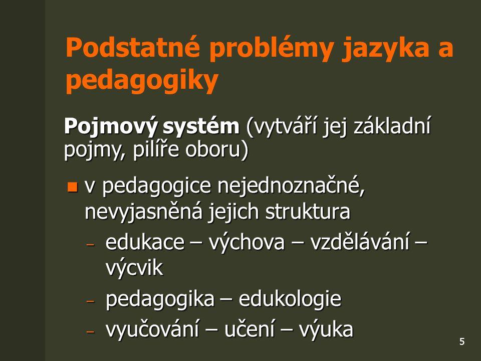 """6 Příčiny problémů charakter oboru pedagogika (x exaktní vědy /M) charakter oboru pedagogika (x exaktní vědy /M) ̶ kulturně a hodnotově determinovaná ̶ proměňuje se pedagogická realita a přístupy k její reflexi ̶ různé modely oboru (anglosaský x středoevropský) ̶ multiparadigmatičnost (heterogenní rámec, Paulston 2002) ̶ pluralita teorií (Bertrand 1998, Prokop 2005 aj.) (proudy, směry, autorské systémy) hlavní zdroj terminologie = přirozený jazyk (není logický systém!) hlavní zdroj terminologie = přirozený jazyk (není logický systém!) pokusy o vytvoření """"logické terminologie mohou vést k purismu pokusy o vytvoření """"logické terminologie mohou vést k purismu specifika češtiny (nepevná norma, průniky internacionalismů apod.) specifika češtiny (nepevná norma, průniky internacionalismů apod.)"""