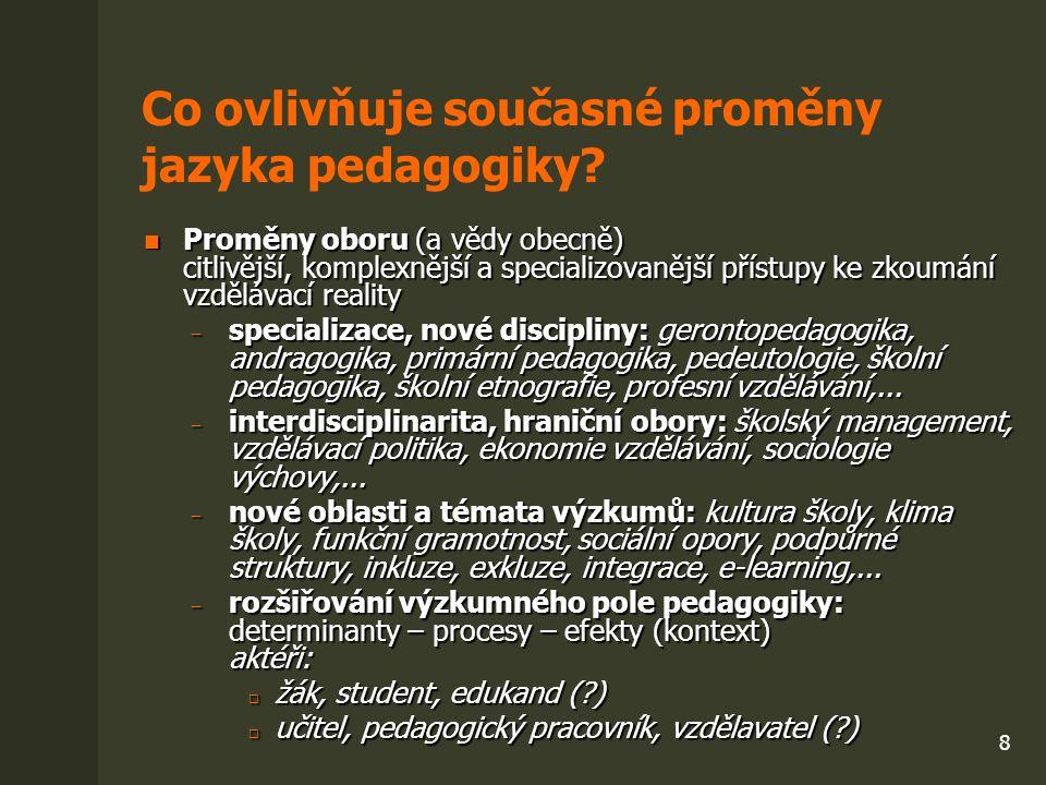 9 Co ovlivňuje současné proměny jazyka pedagogiky.