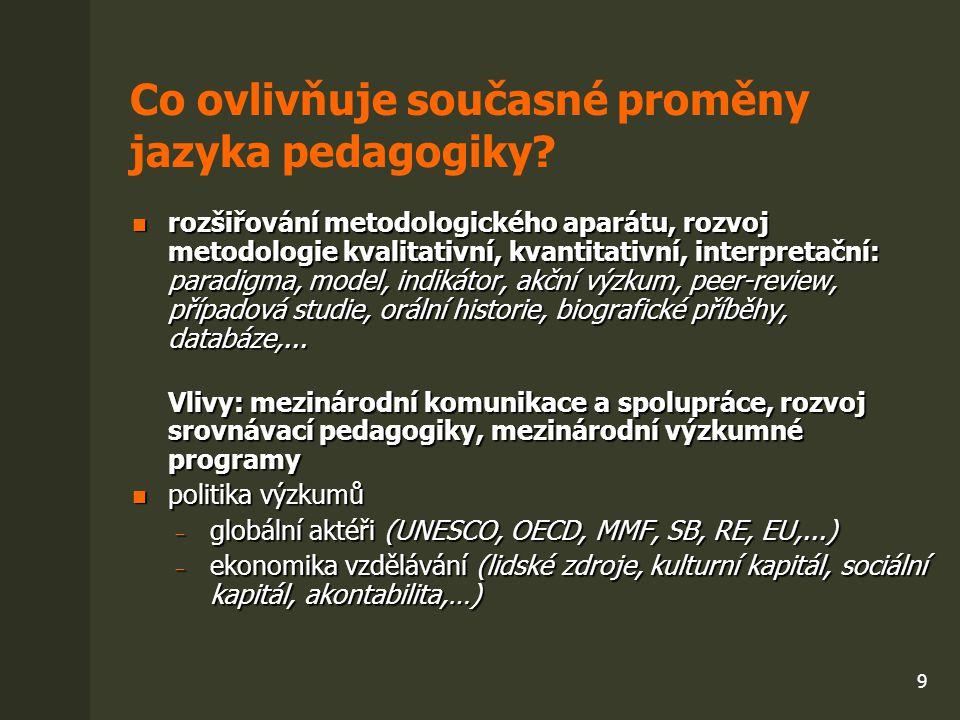 9 Co ovlivňuje současné proměny jazyka pedagogiky? rozšiřování metodologického aparátu, rozvoj metodologie kvalitativní, kvantitativní, interpretační: